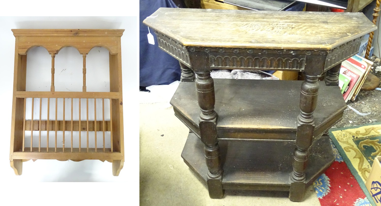 A pine plate rack together with a three tier buffet (2) Please Note - we do not make reference to