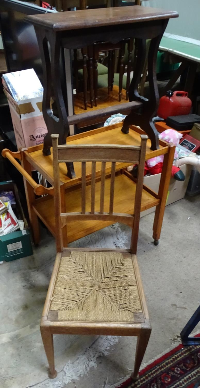 An Arts & Crafts dining chair, together with a stool, and a trolley (3) Please Note - we do not make - Image 3 of 5