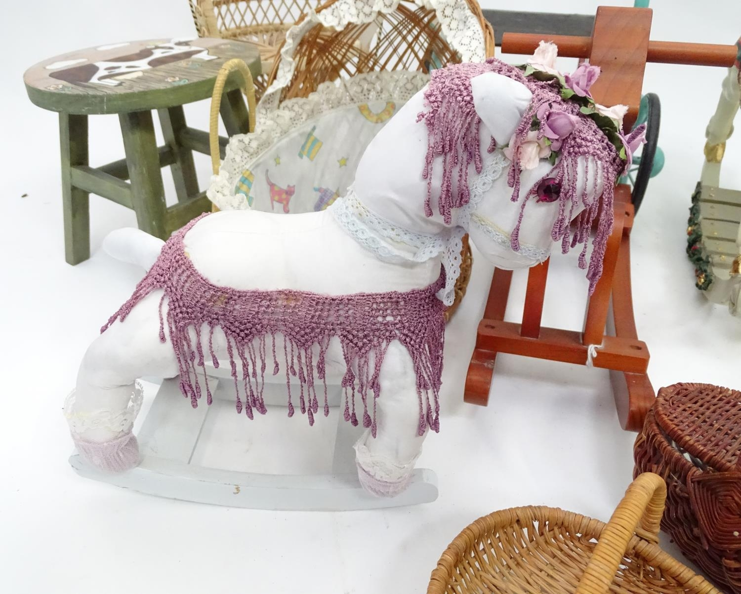 A quantity of dolls items to include a pram, smalls chairs, stool, etc. Please Note - we do not make - Image 6 of 11
