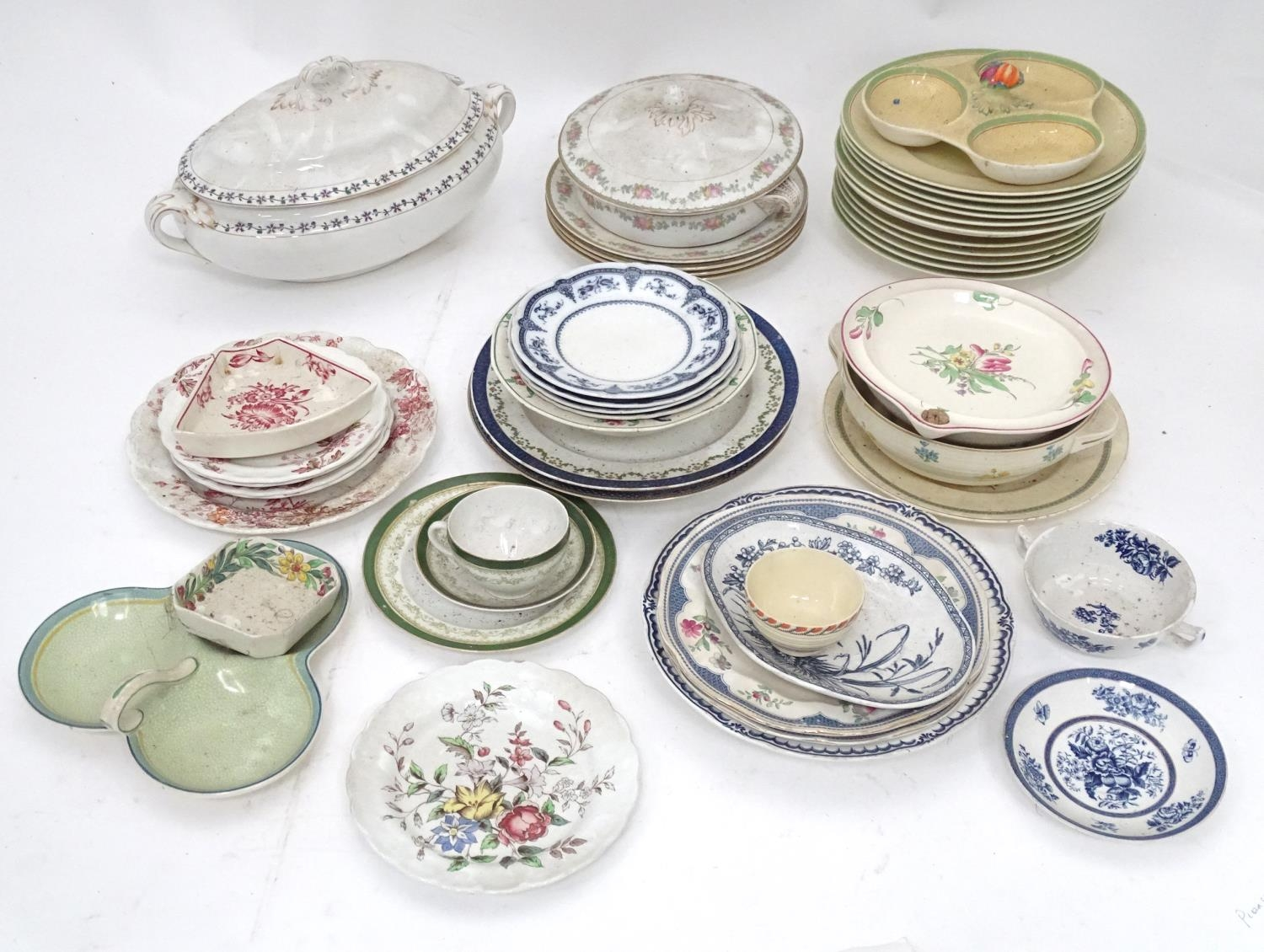 A quantity of assorted Booths china patterns to include Old Staffordshire, Flowerpiece,