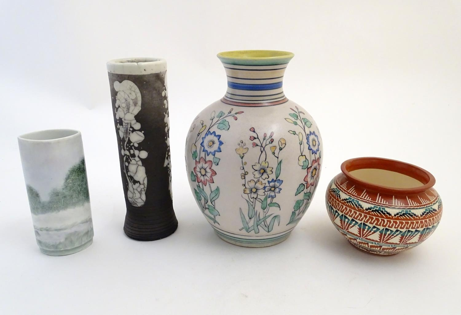Four assorted vases, comprising A New Mexico Navajo studio pottery squat vase with incised banded - Image 3 of 10