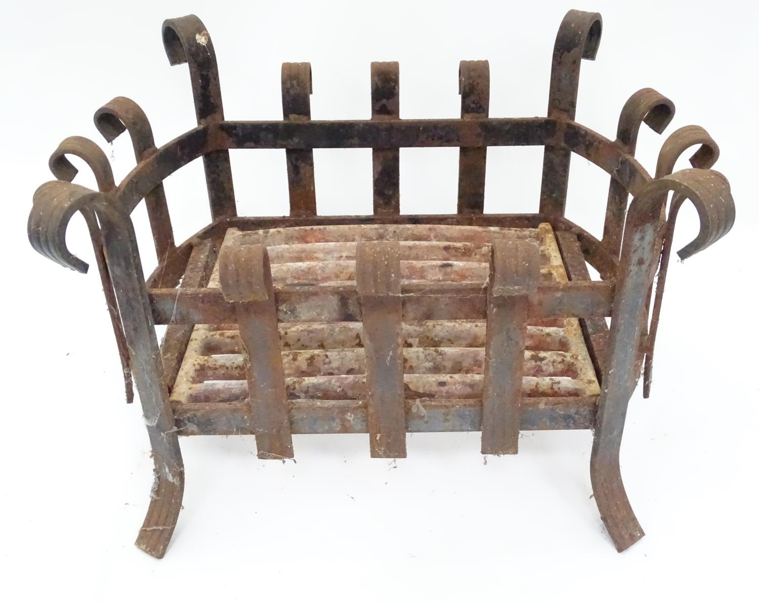 A cast iron fire basket with scroll decoration Please Note - we do not make reference to the - Image 2 of 6