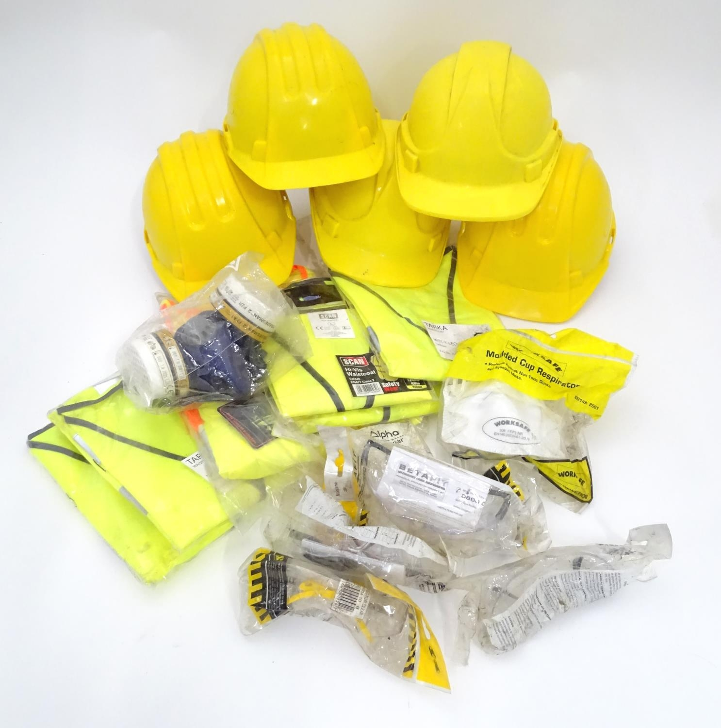 A quantity of health and safety equipment to include hard hats, safety glasses, hi vis vests etc.
