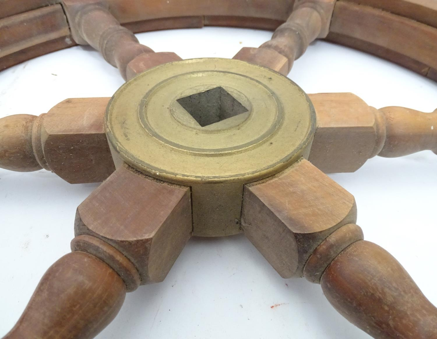 A teak and brass ships wheel Please Note - we do not make reference to the condition of lots - Image 3 of 4