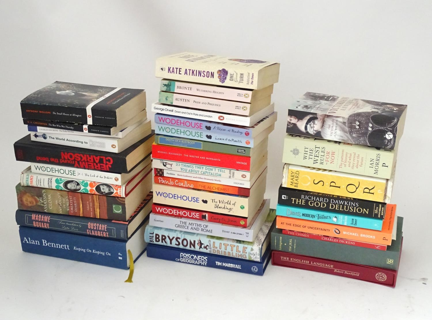 A quantity of books to include titles by Alan Bennett, Jeremy Clarkson, Bill Bryson, Anthony