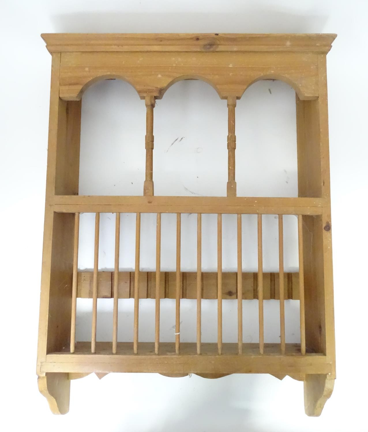 A pine plate rack together with a three tier buffet (2) Please Note - we do not make reference to - Image 2 of 9