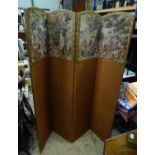 """A four fold 20thC dressing screen / room divider with tapestry decoration. Approx. 65 3/4"""" tall"""