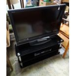 A Sony Bravia television / TV with remote, stand and a Samsung DVD player (4) Please Note - we do