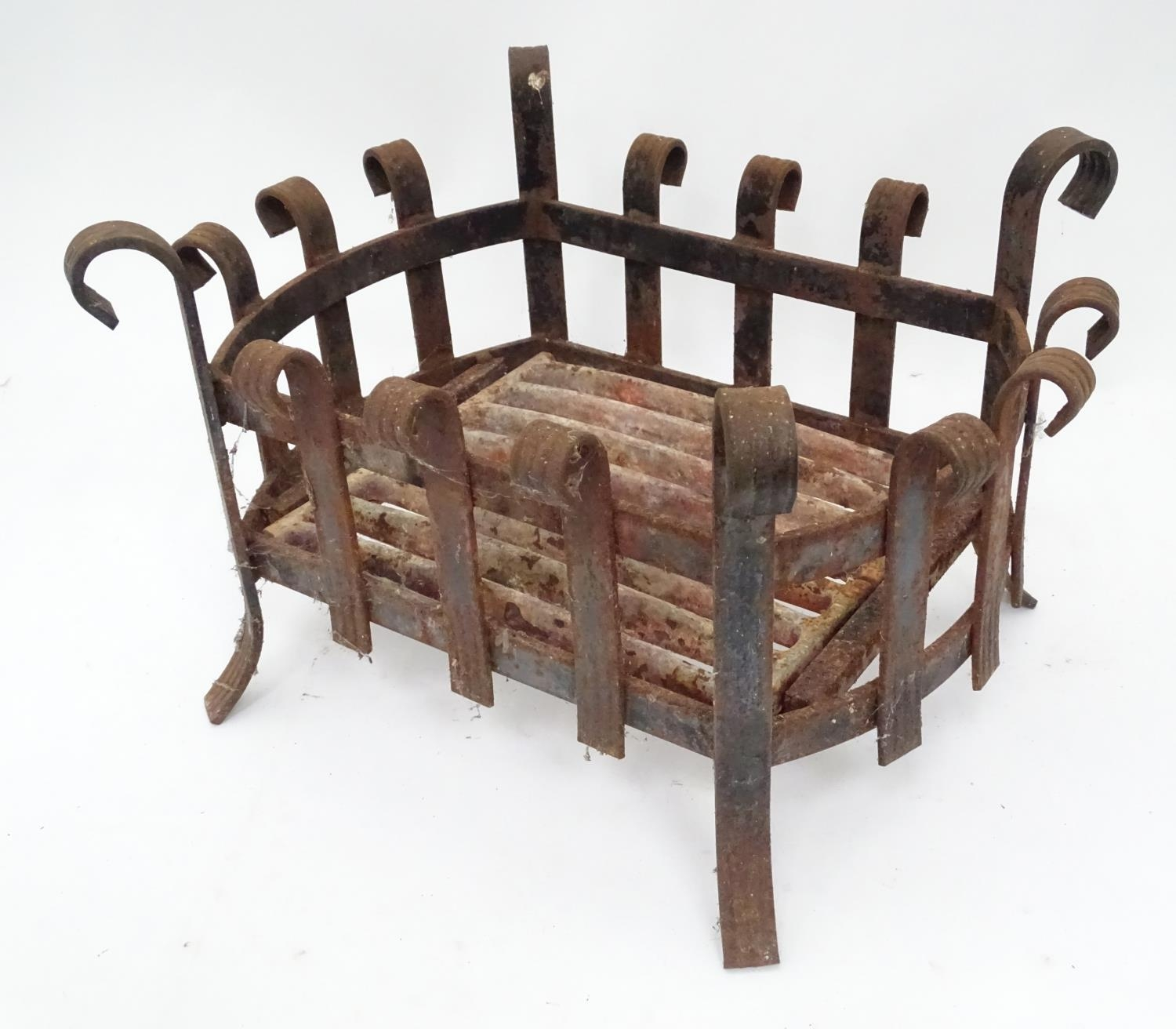 A cast iron fire basket with scroll decoration Please Note - we do not make reference to the - Image 3 of 6