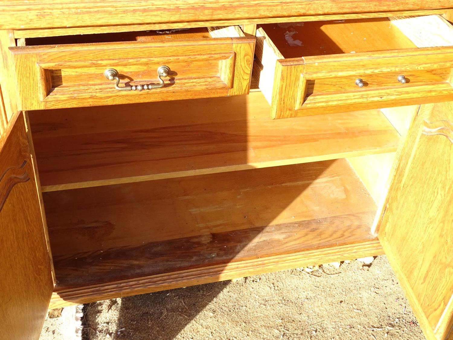 """A 20thC oak glazed dresser / cupboard. Approx. 75"""" tall Please Note - we do not make reference to - Image 5 of 5"""
