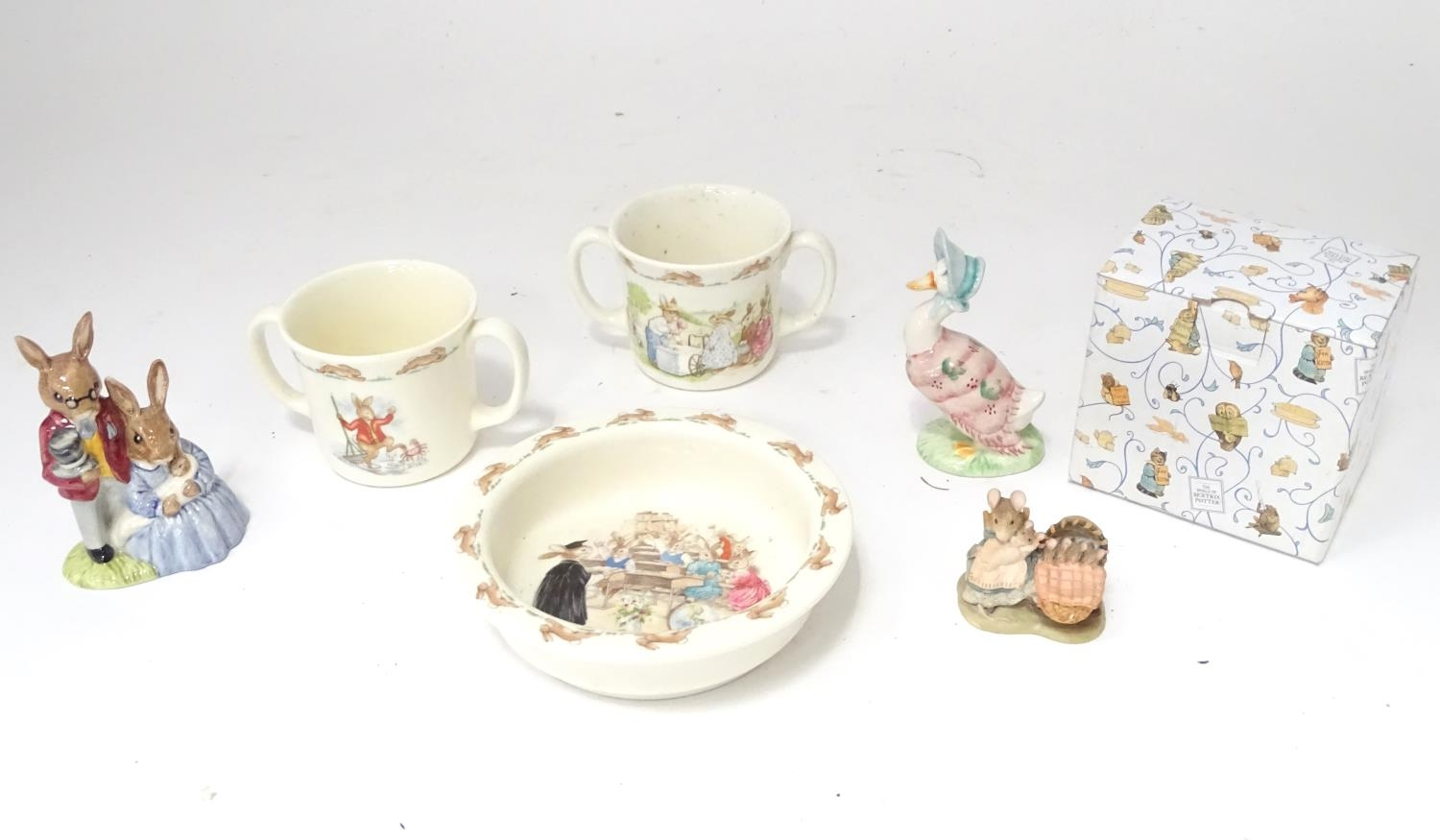 A quantity of Beatrix Potter ceramics, Bunnykins etc. Please Note - we do not make reference to