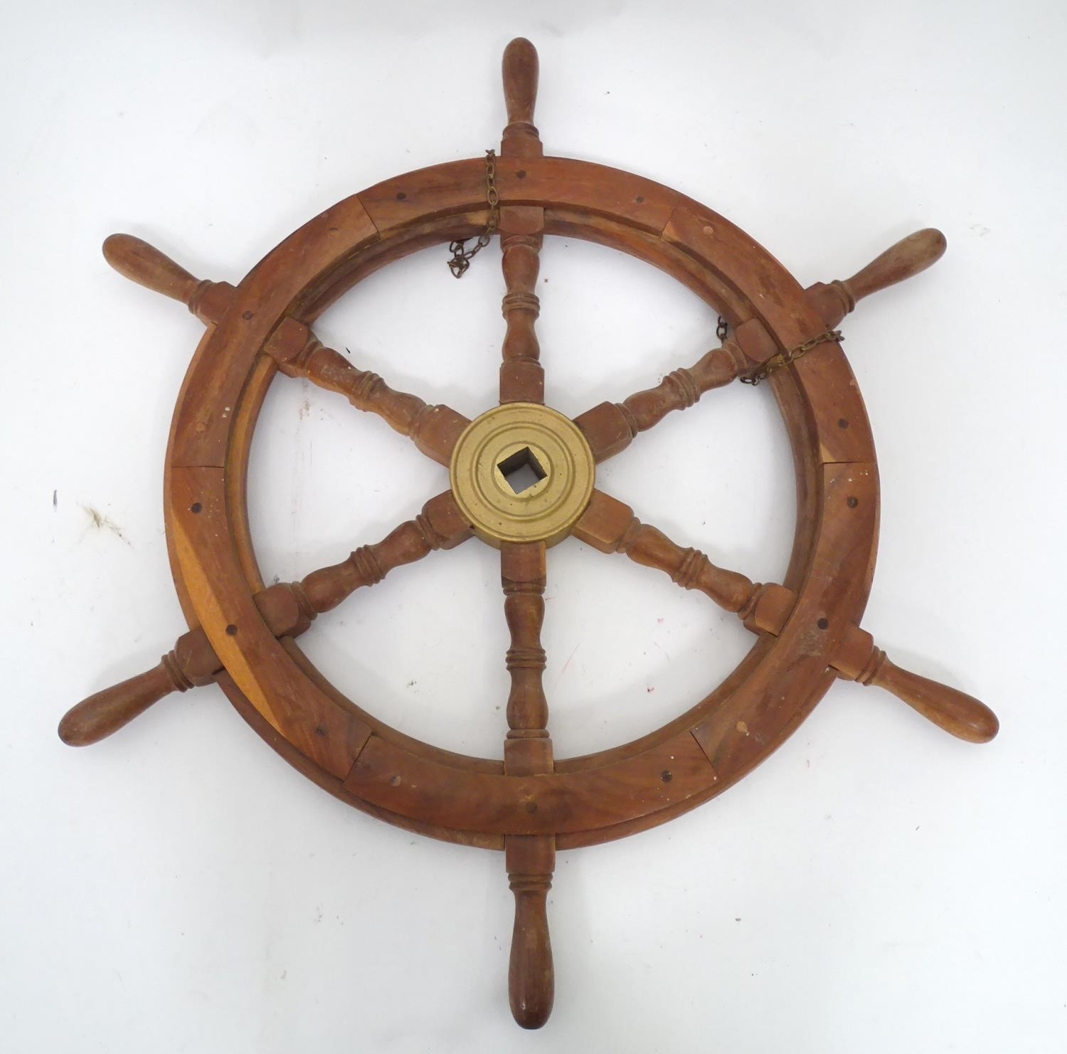 A teak and brass ships wheel Please Note - we do not make reference to the condition of lots - Image 2 of 4