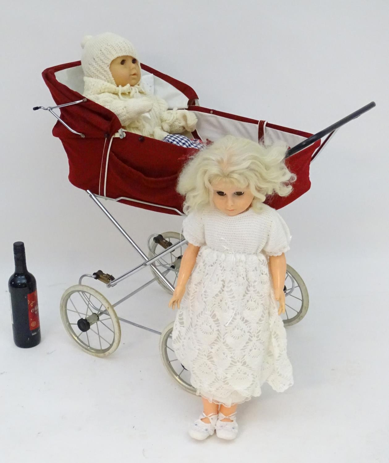 A 20thC dolls pram together with two dolls (3) Please Note - we do not make reference to the - Image 3 of 7