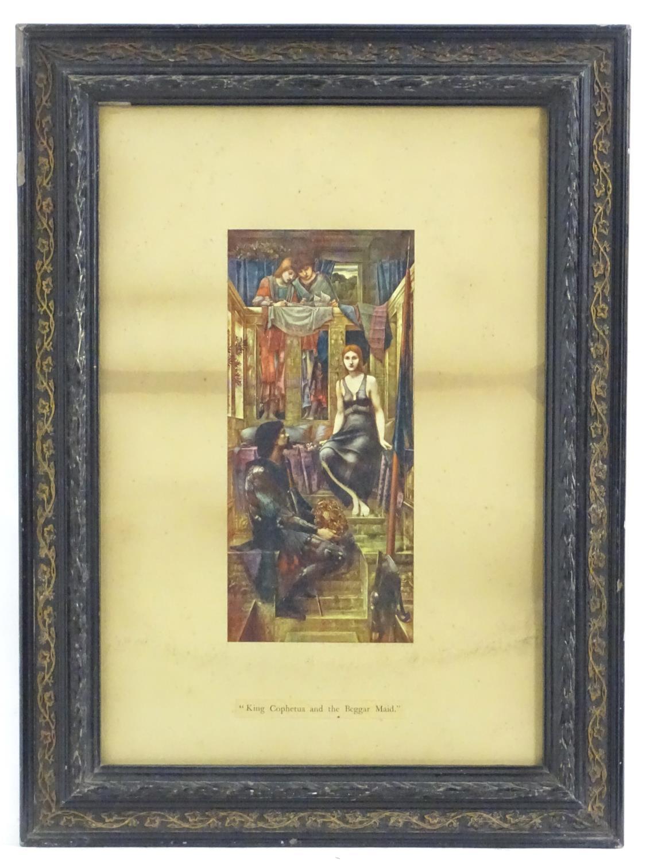 After Edward Burne Jones (1833-1898), Colour print, King Cophetua and the Beggar Maid. Titled under.