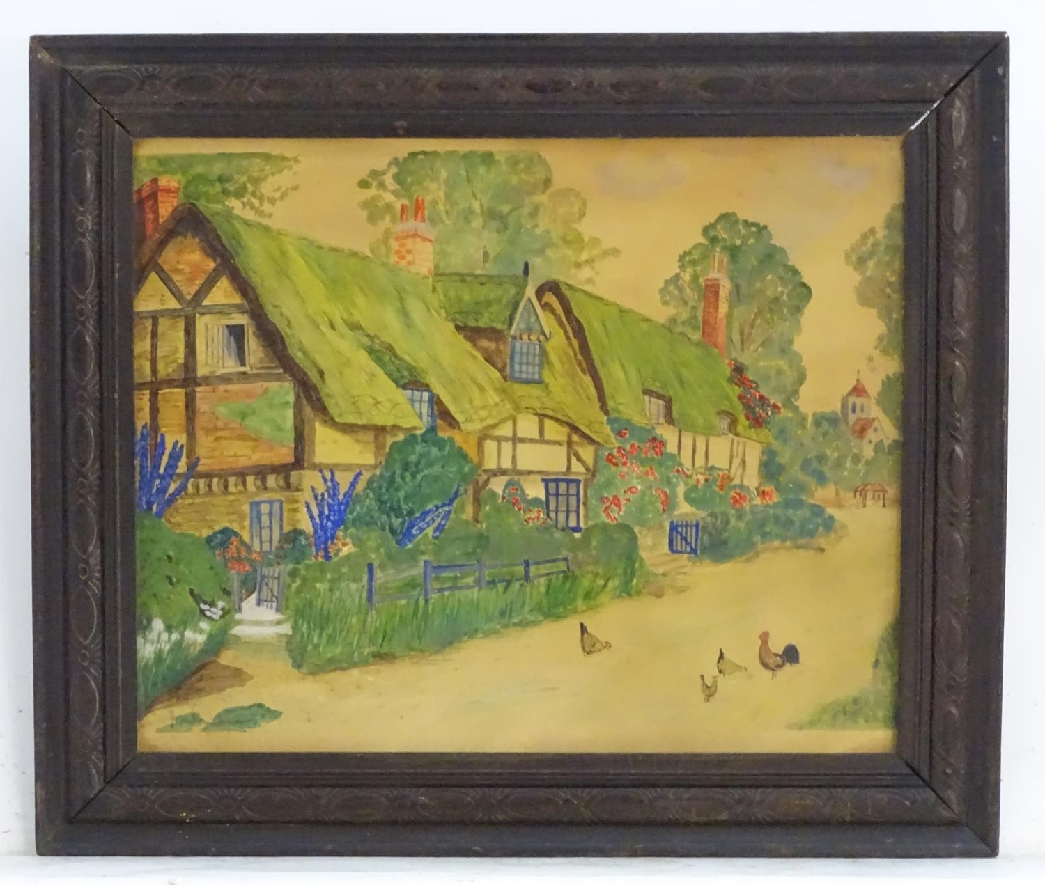 20thC, English School, Watercolour, A naive / folk art scene depicting a village with thatched