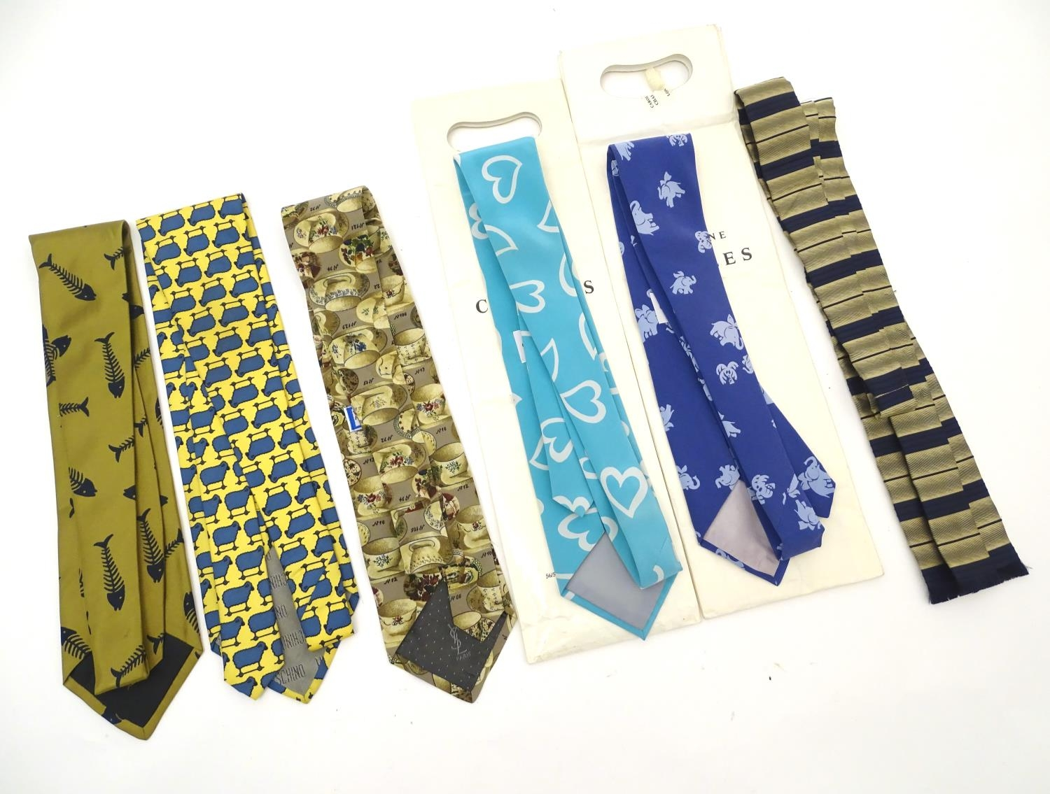 Vintage clothing/ fashion: 6 silk ties in various colours and patterns by Yves Saint Laurent, Nicole - Image 7 of 10