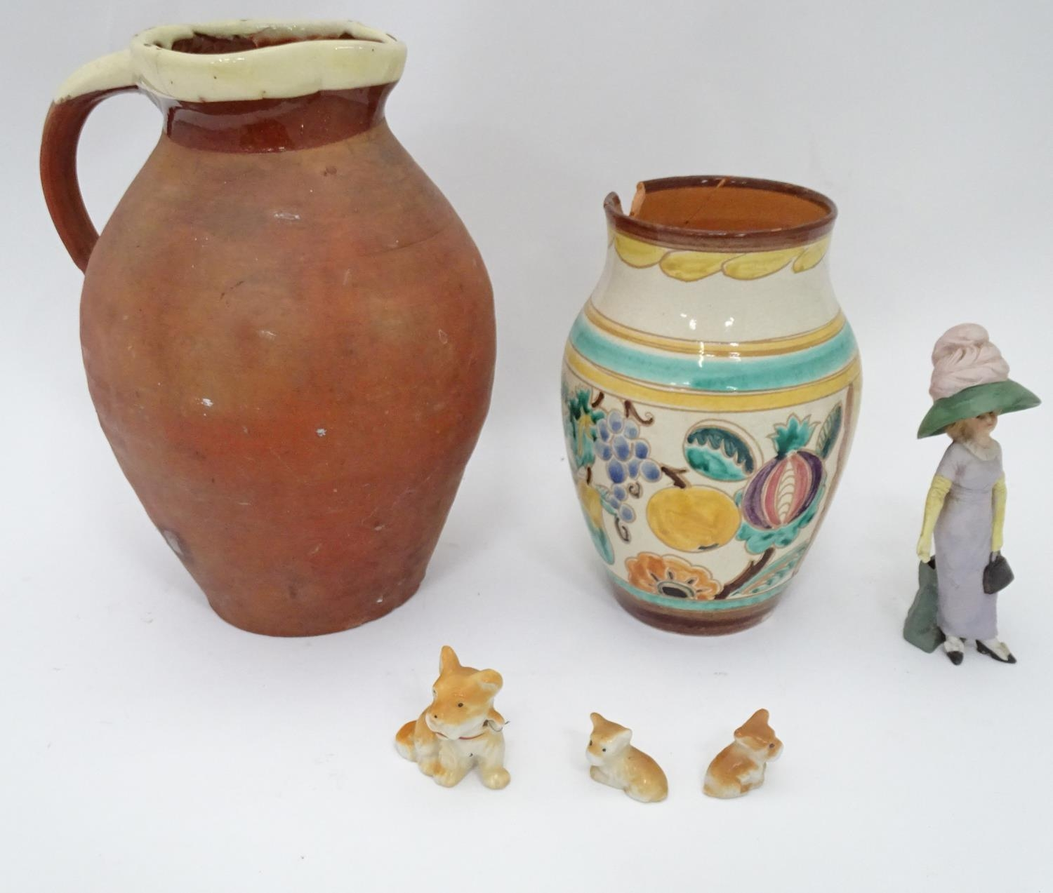 A 19thC terracotta jug together with a 20thC vase Please Note - we do not make reference to the - Image 3 of 6