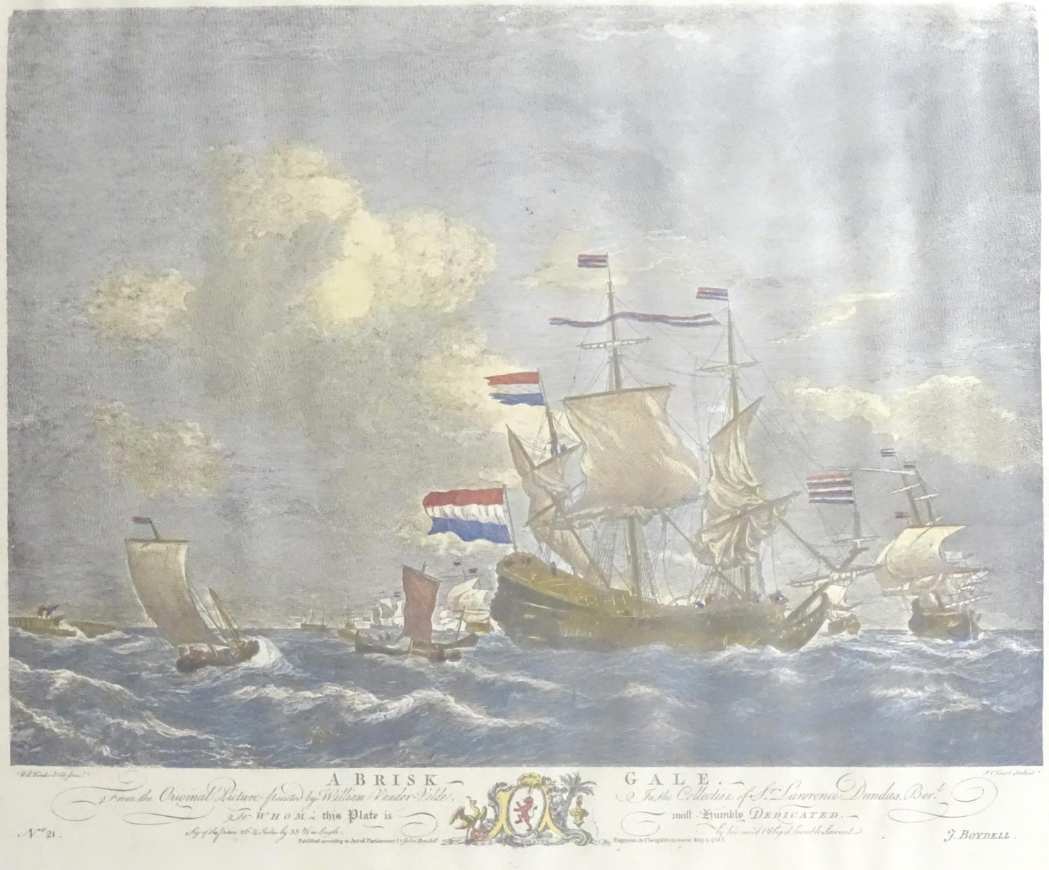 P. C. Canot, after Willem van de Velde, Two hand coloured engravings, A Brisk Gale, depicting a - Image 3 of 8