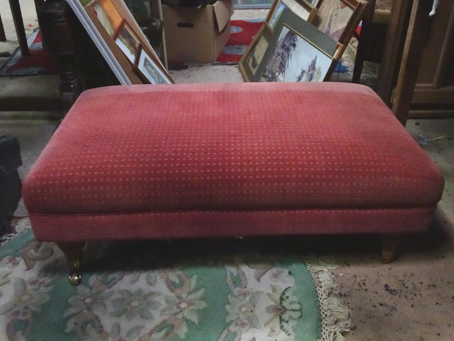 A large upholstered footstool on castors Please Note - we do not make reference to the condition - Image 3 of 6