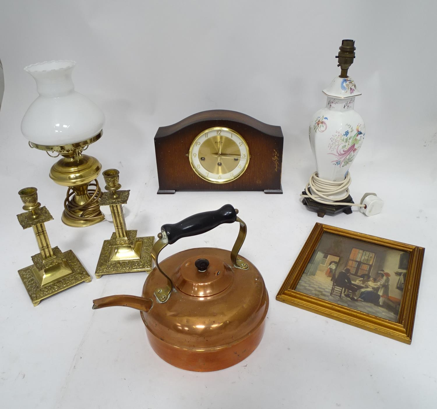 A box of assorted items to include ceramic lamp stand, brass candlesticks, 20thC mantle clock etc.