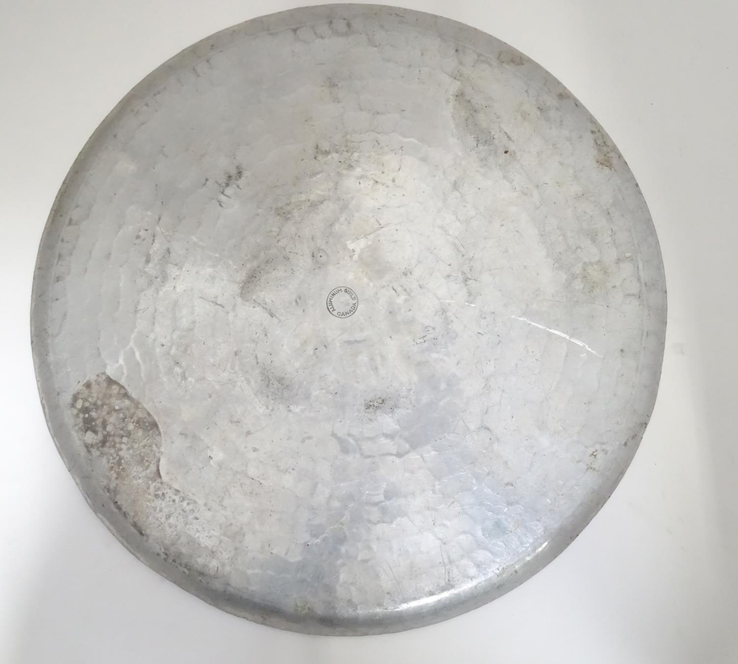 An aluminium charger with rose detail to centre, stamped to reverse Aluminium Guild Canada Please - Image 5 of 5