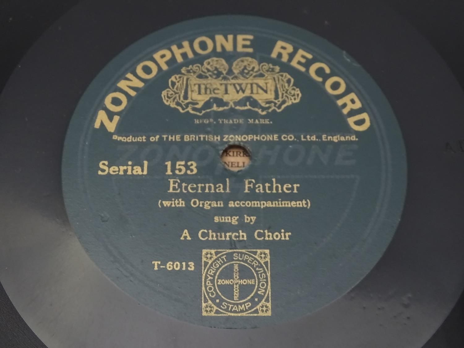 An oak cased wind up gramophone. Together with a quantity of records Please Note - we do not make - Image 4 of 13