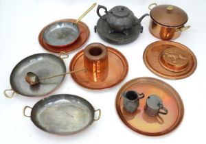 A quantity of assorted metal ware to include copper pans, a pewter warmer, teapot etc. Please Note -