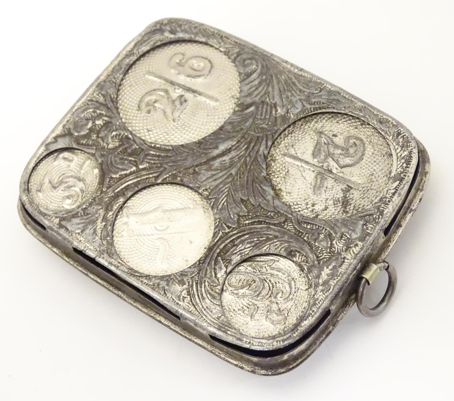 Three silver plate items comprising a coin holder, small box of casket form and an oversized thimble - Image 10 of 10