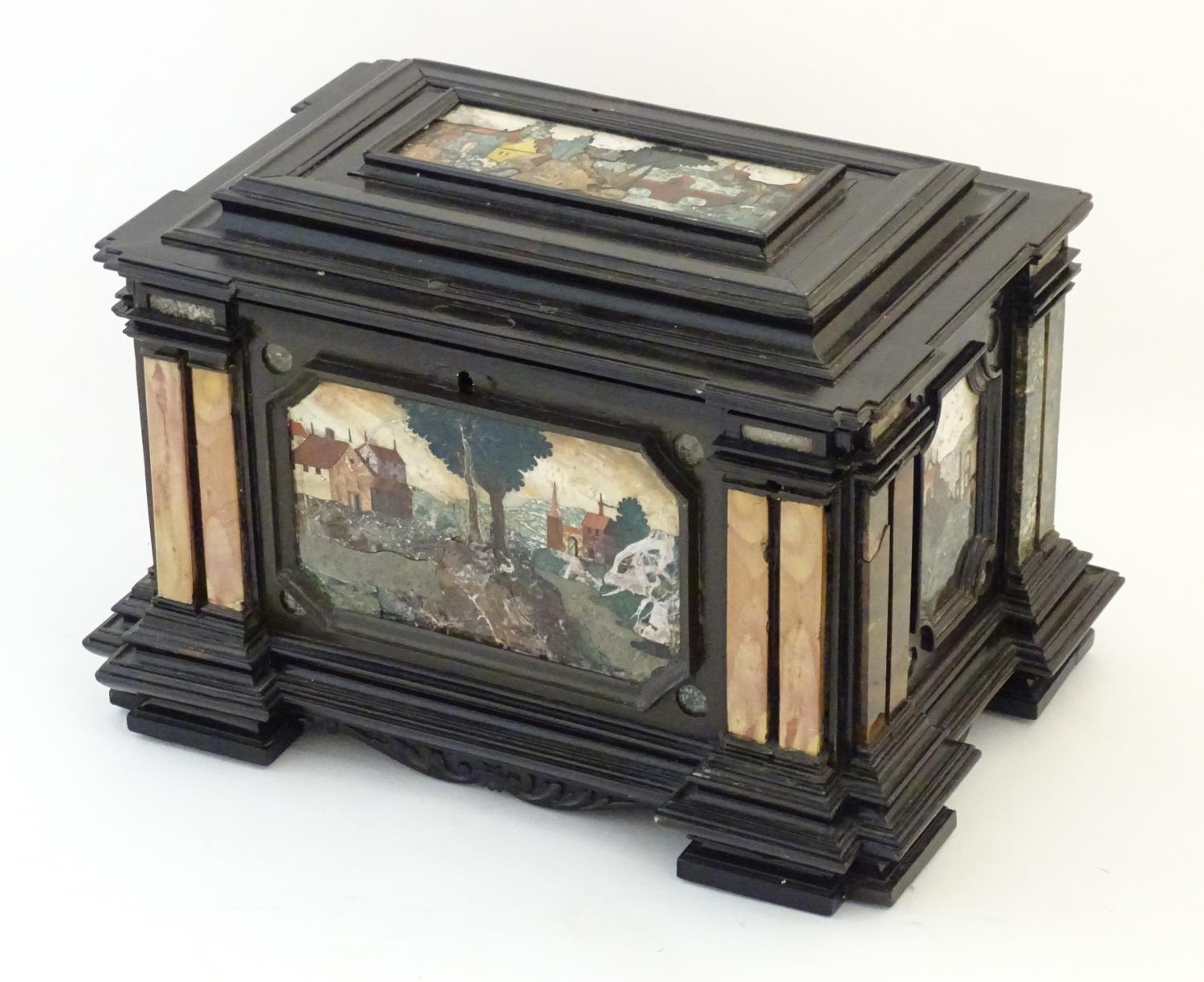 A 19thC Italian Grand Tour table cabinet / casket box of exceptionally large form with specimen - Image 3 of 58