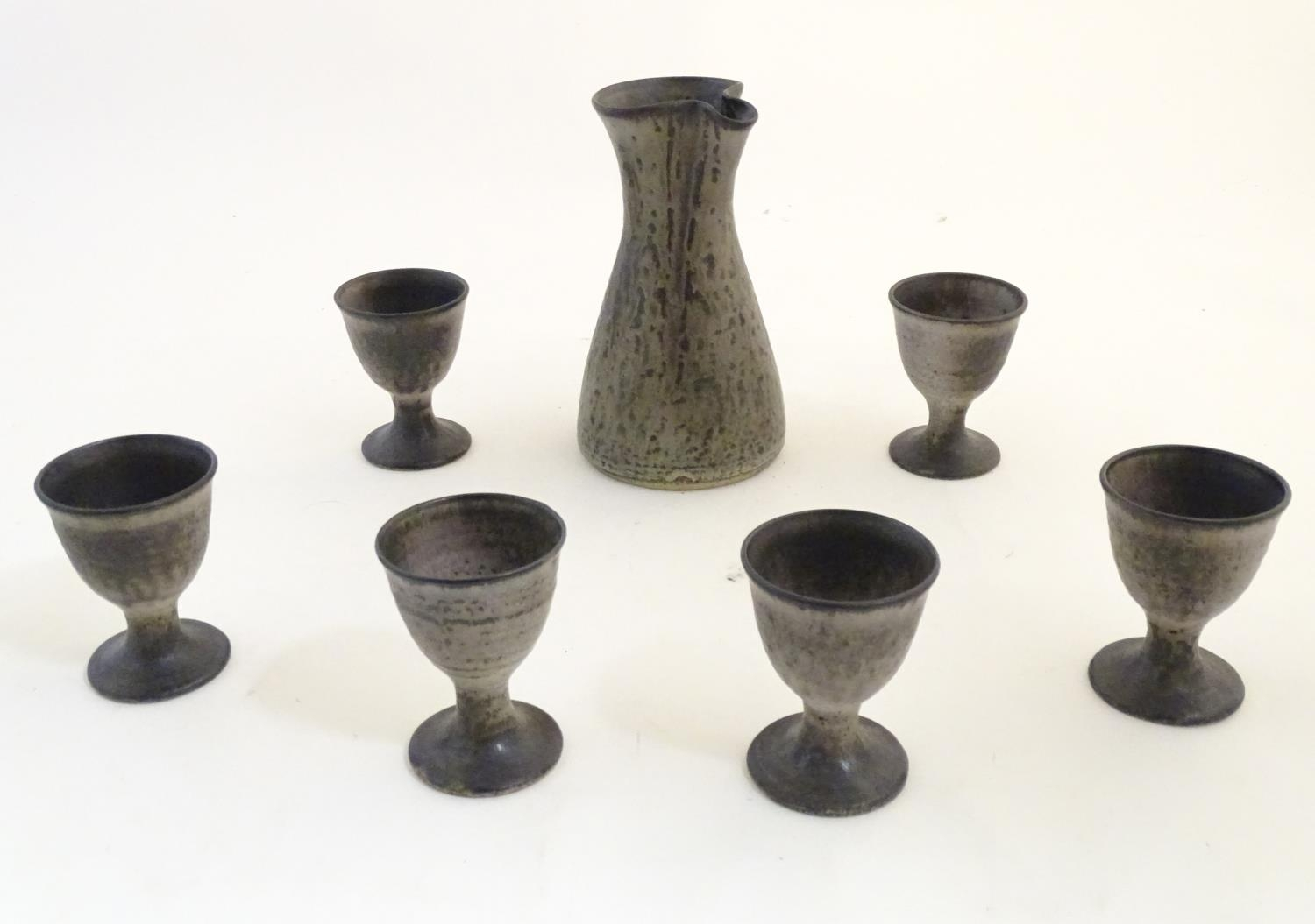 A studio pottery wine caraf and 6 goblets by Howard and Kathleen Charles, Masham Pottery. - Image 3 of 7