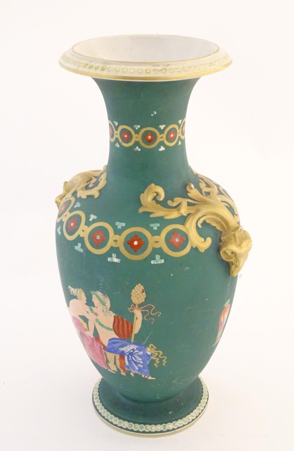 A Prattware baluster vase with Classical decoration depicting a Roman gladiator and chariot etc. - Image 4 of 12