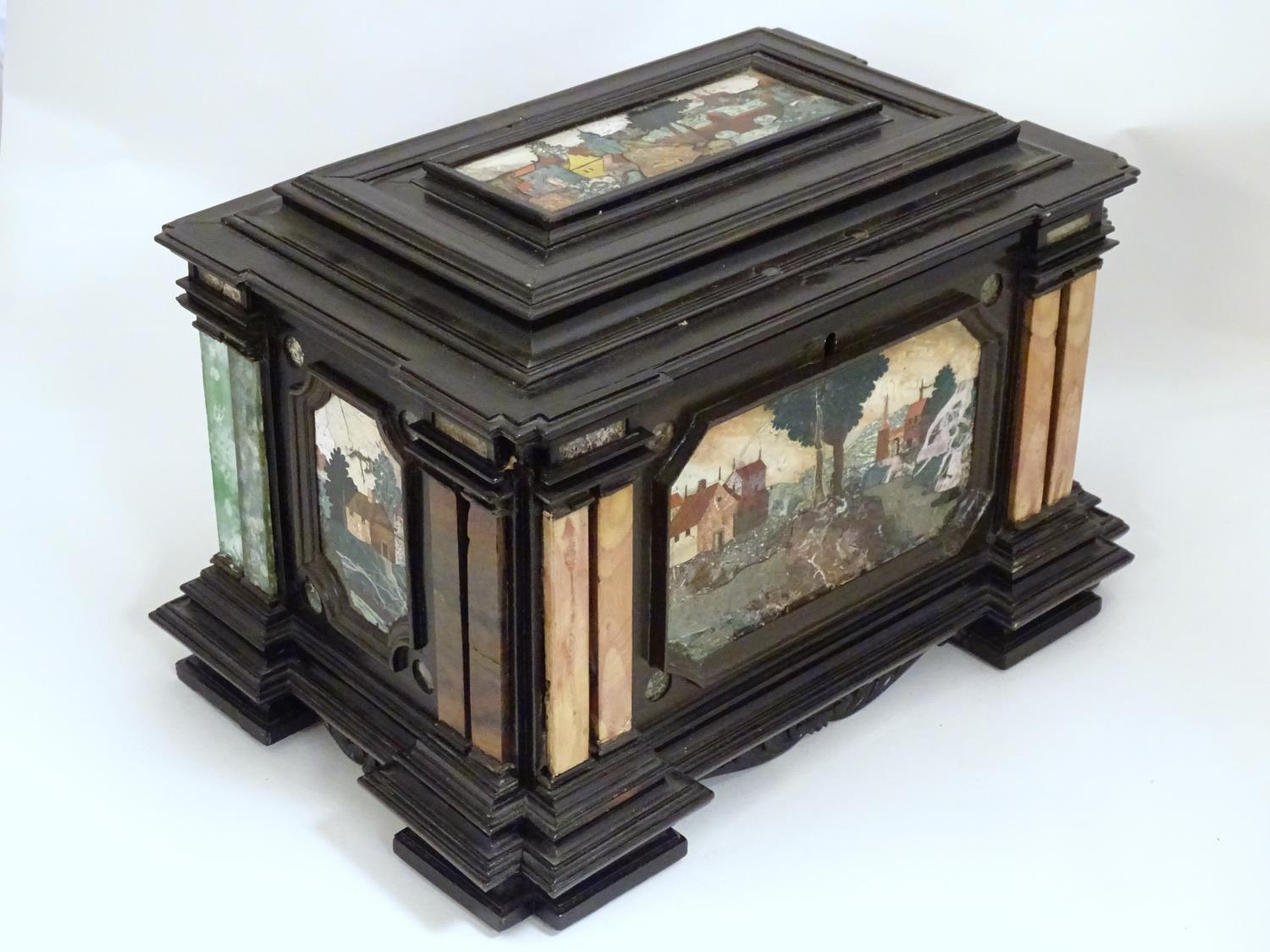 A 19thC Italian Grand Tour table cabinet / casket box of exceptionally large form with specimen - Image 24 of 58
