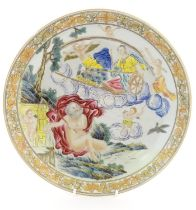 A Chinese export plate depicting a mythological landscape scene with a woman in a chariot,