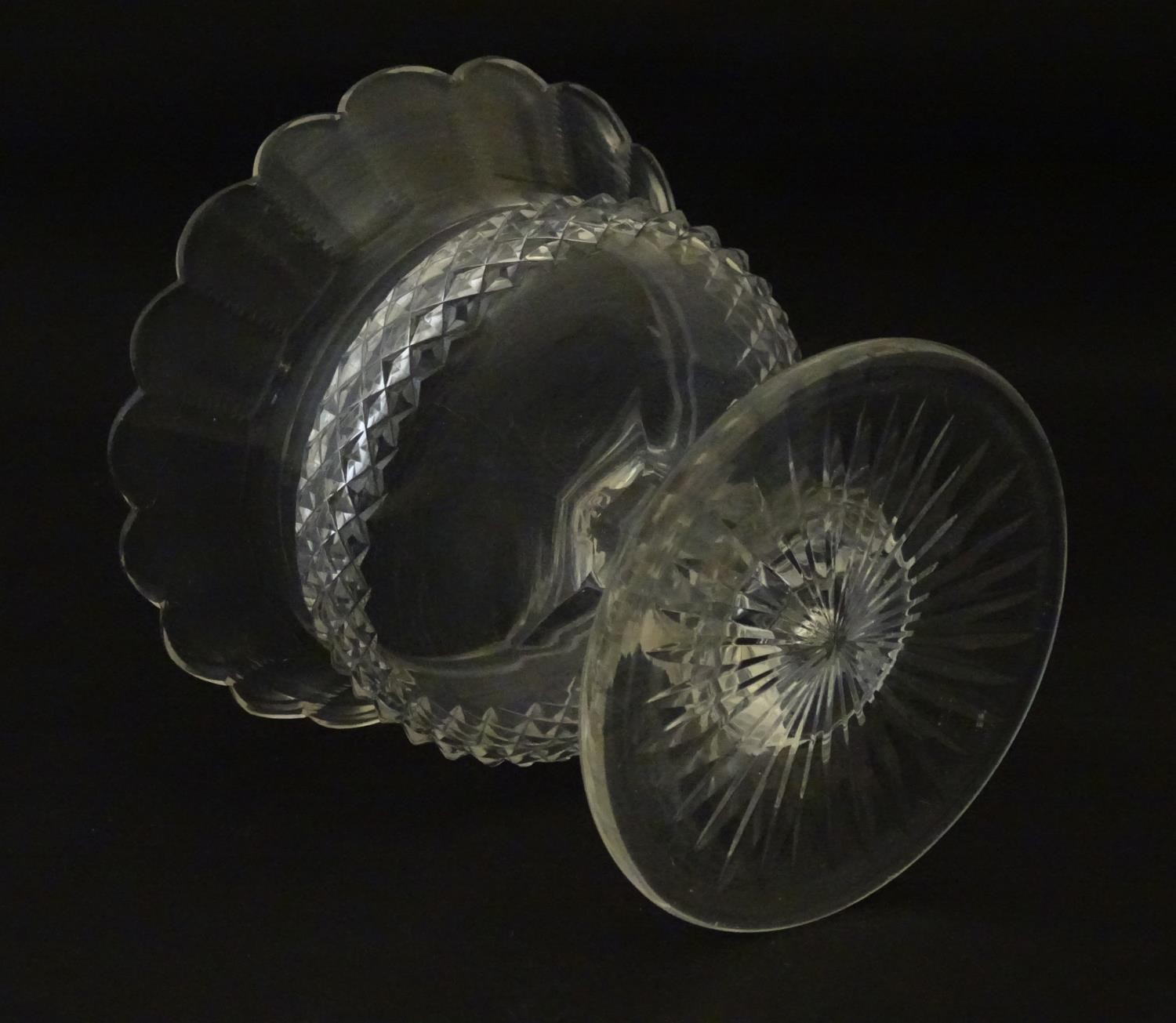 """A 19thC cut glass small tazza / bowl, probably by Waterford. 5"""" high Please Note - we do not make - Image 2 of 5"""