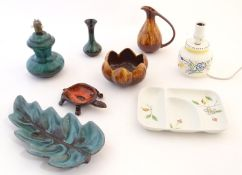 A quantity of vintage Canadian Blue Mountain Pottery wares comprising a lotus shaped bowl, a ewer, a