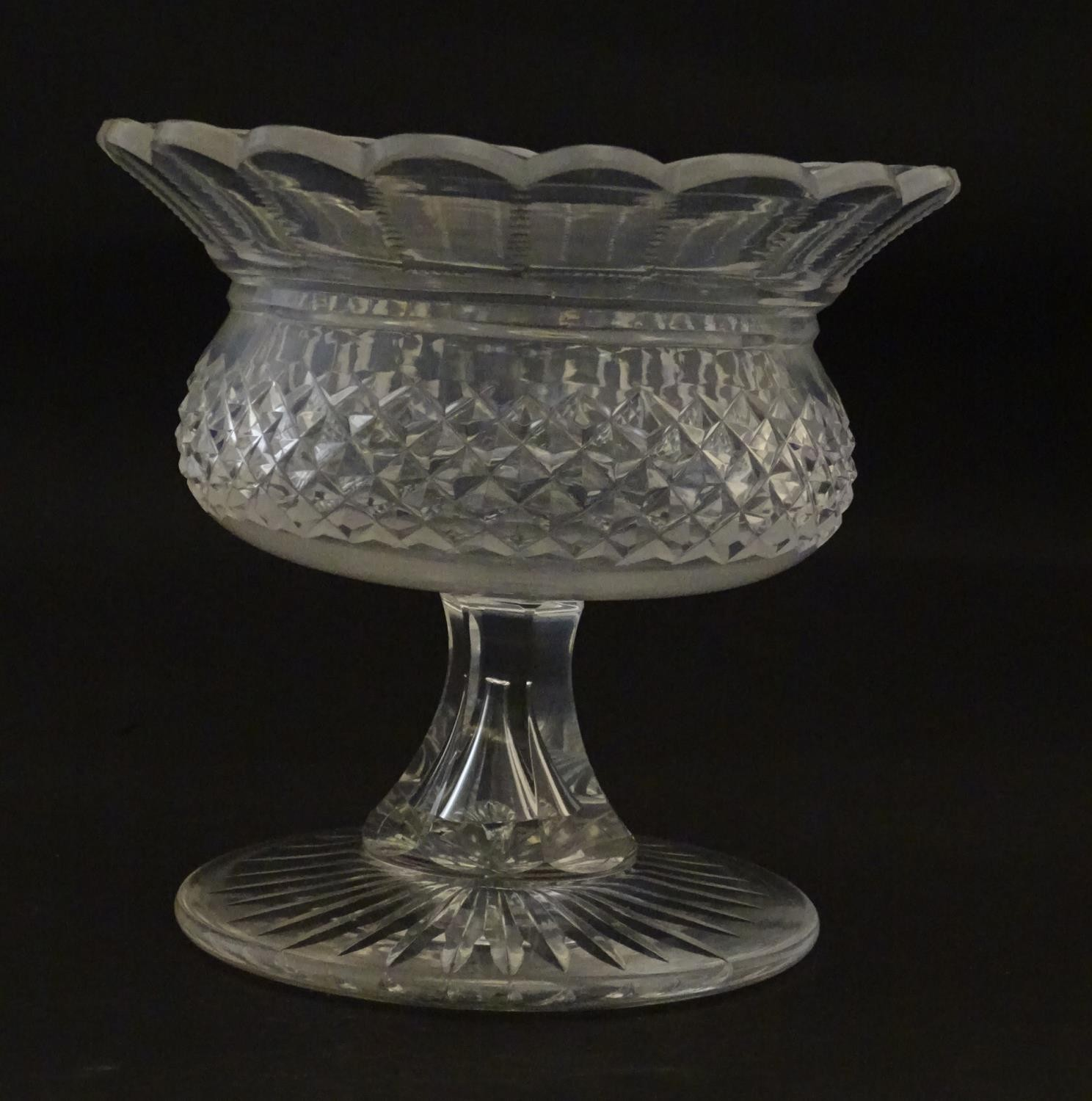 """A 19thC cut glass small tazza / bowl, probably by Waterford. 5"""" high Please Note - we do not make - Image 4 of 5"""