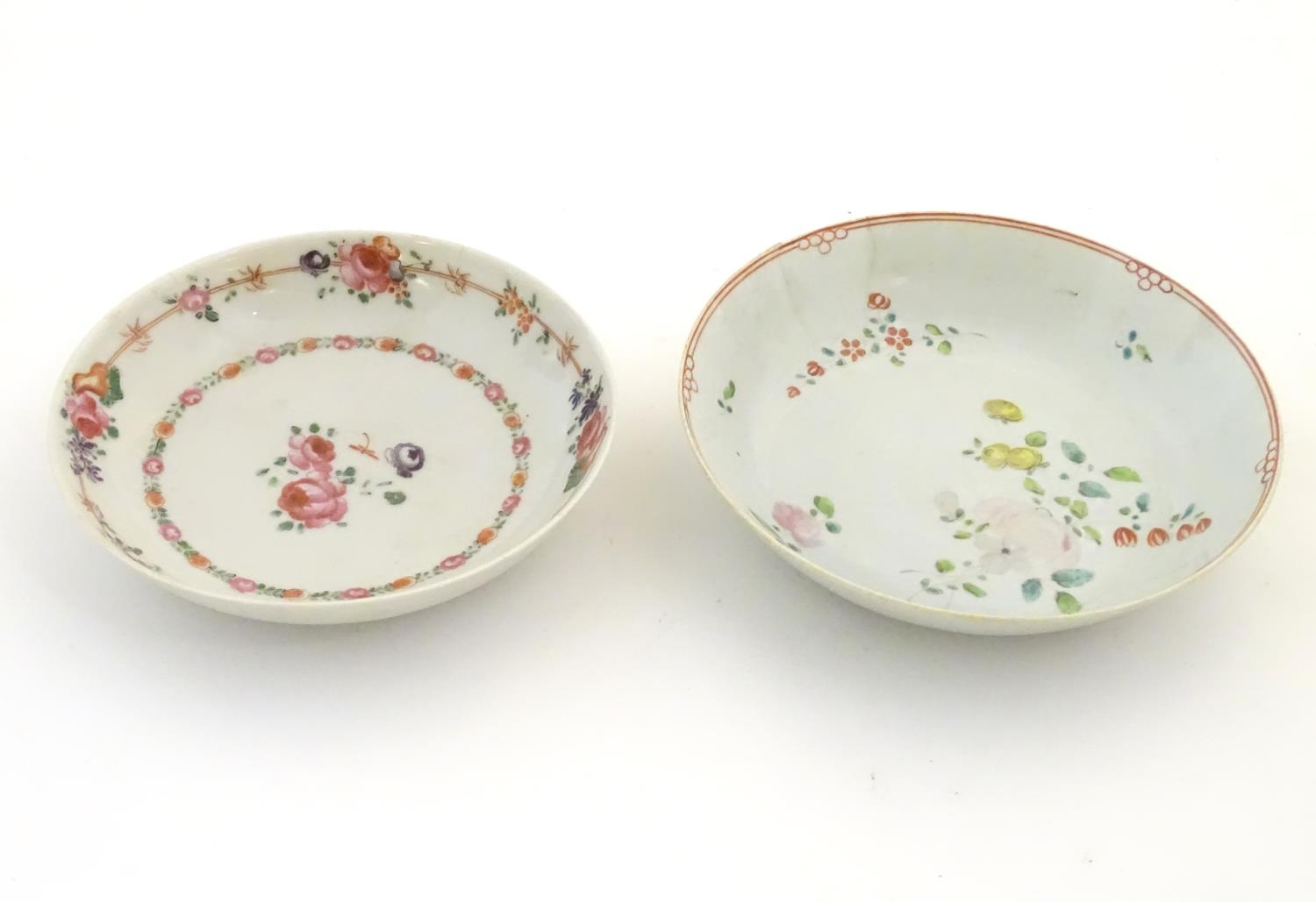 A New Hall style saucer with hand painted floral and foliate detail. Together with another. - Image 7 of 18