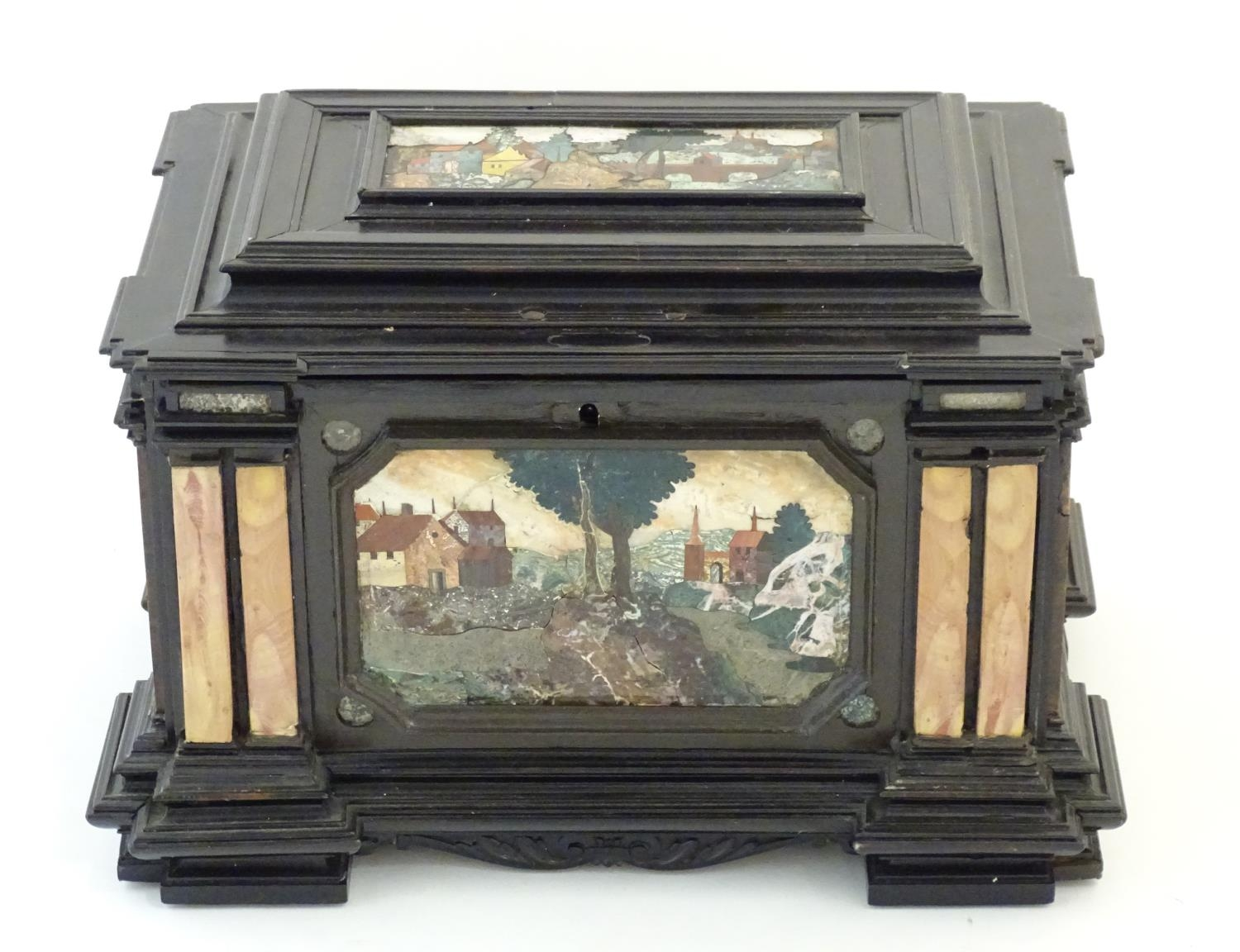 A 19thC Italian Grand Tour table cabinet / casket box of exceptionally large form with specimen - Image 29 of 58