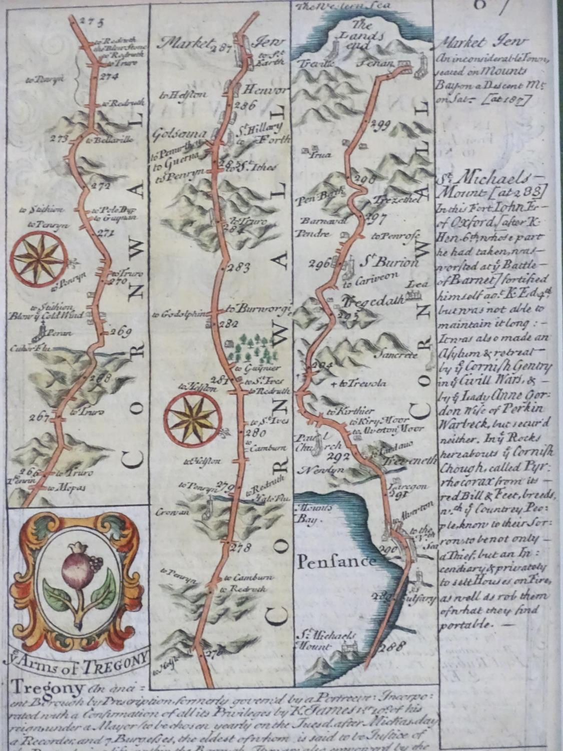 Map: An 18thC hand coloured engraved road strip map of Cornwall, showing the route from Tregony to - Image 5 of 5