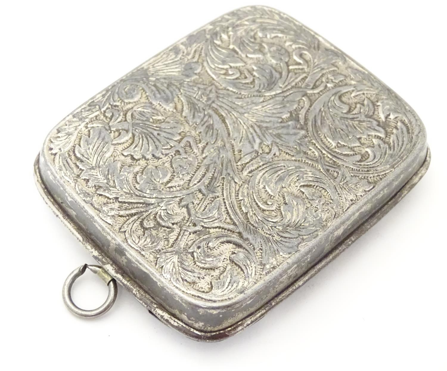 Three silver plate items comprising a coin holder, small box of casket form and an oversized thimble - Image 2 of 10