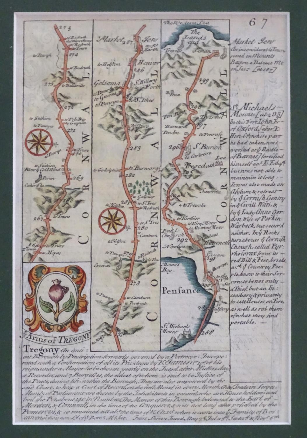 Map: An 18thC hand coloured engraved road strip map of Cornwall, showing the route from Tregony to - Image 3 of 5