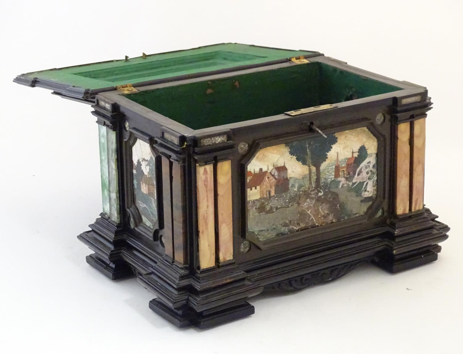 A 19thC Italian Grand Tour table cabinet / casket box of exceptionally large form with specimen - Image 7 of 58