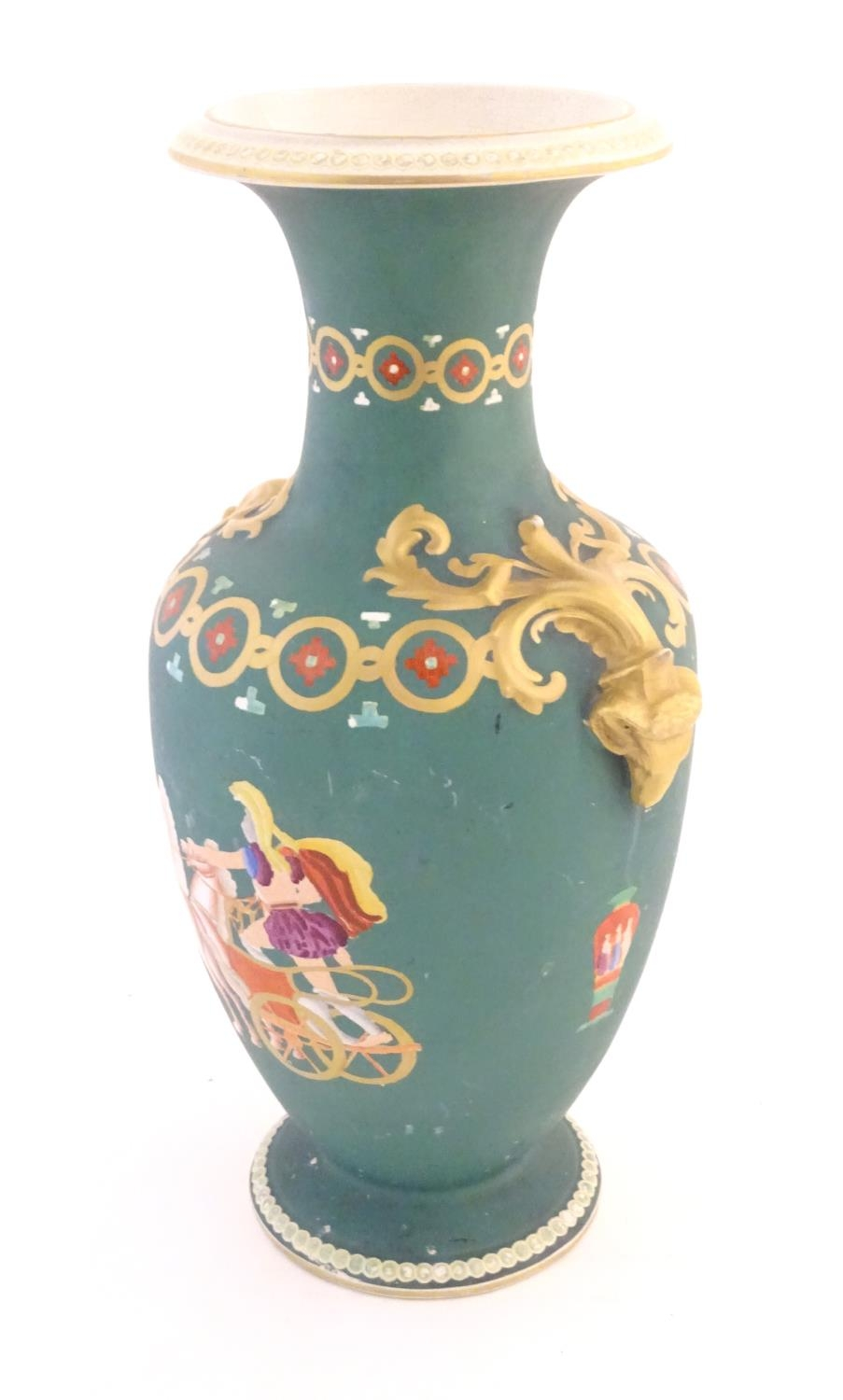 A Prattware baluster vase with Classical decoration depicting a Roman gladiator and chariot etc. - Image 7 of 12