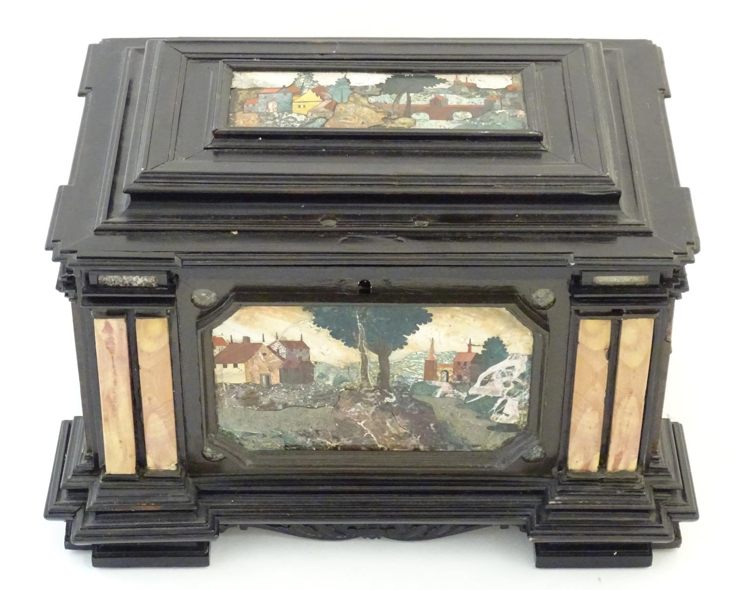 A 19thC Italian Grand Tour table cabinet / casket box of exceptionally large form with specimen - Image 25 of 58
