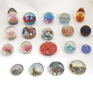 A collection of art glass paperweights, comprising Caithness Alastair MacIntosh 'Eurthymic' 180/