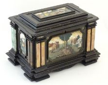 A 19thC Italian Grand Tour table cabinet / casket box of exceptionally large form with specimen