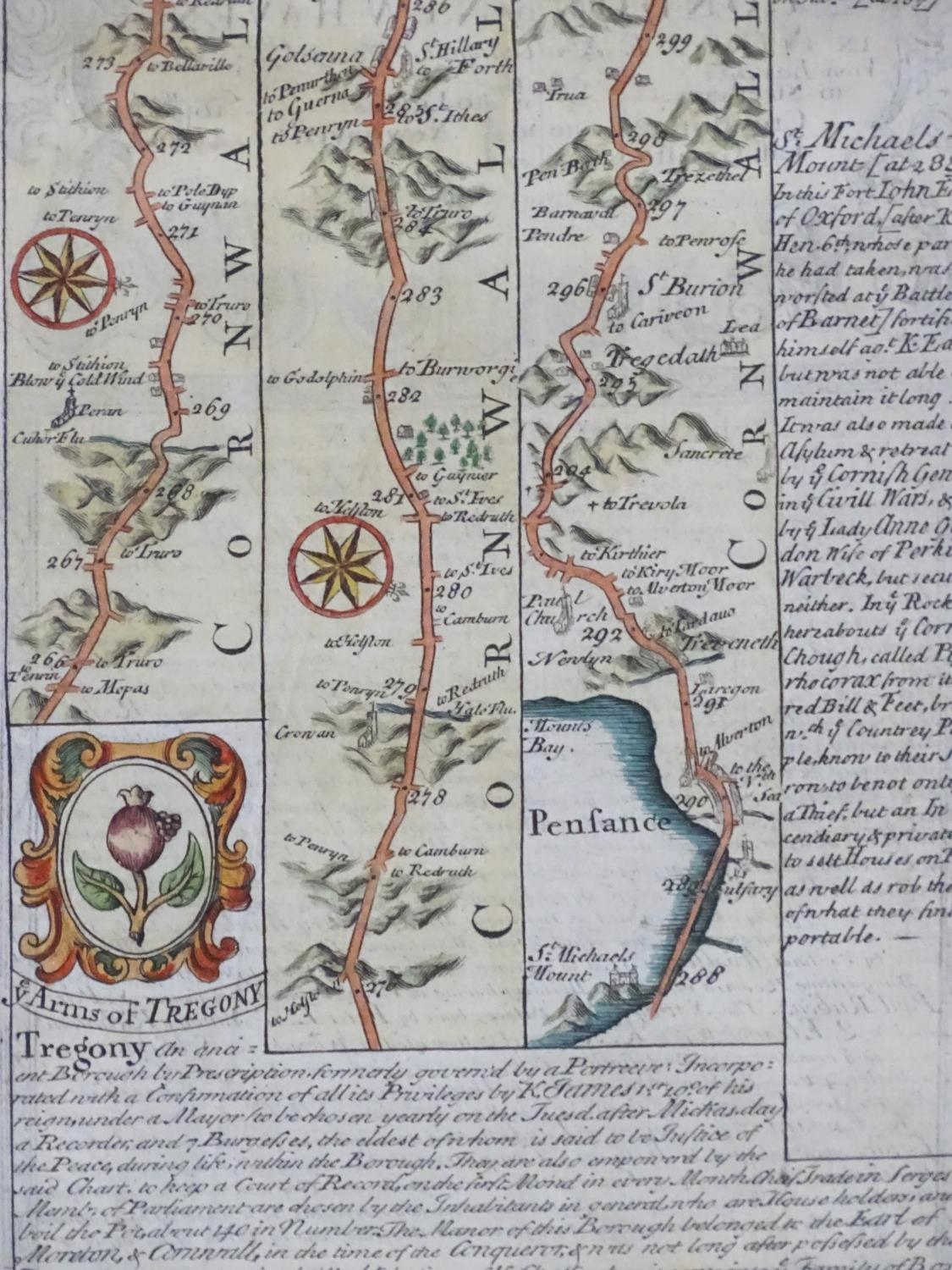 Map: An 18thC hand coloured engraved road strip map of Cornwall, showing the route from Tregony to - Image 4 of 5