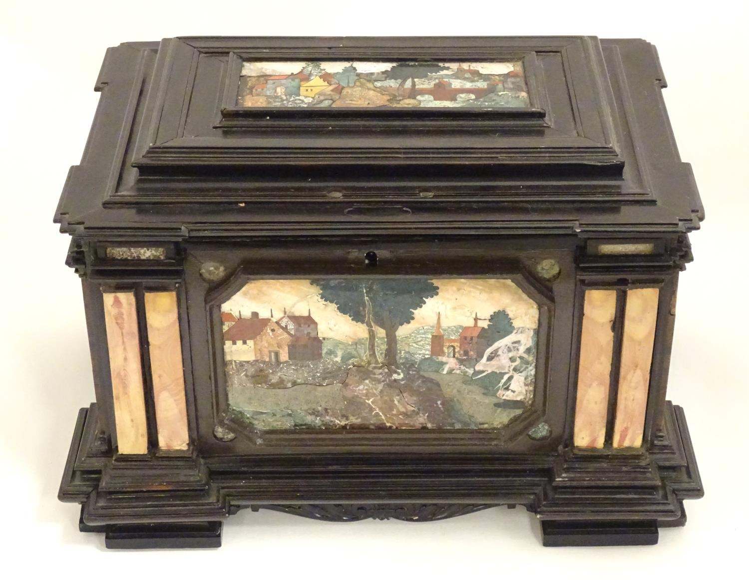 A 19thC Italian Grand Tour table cabinet / casket box of exceptionally large form with specimen - Image 19 of 58
