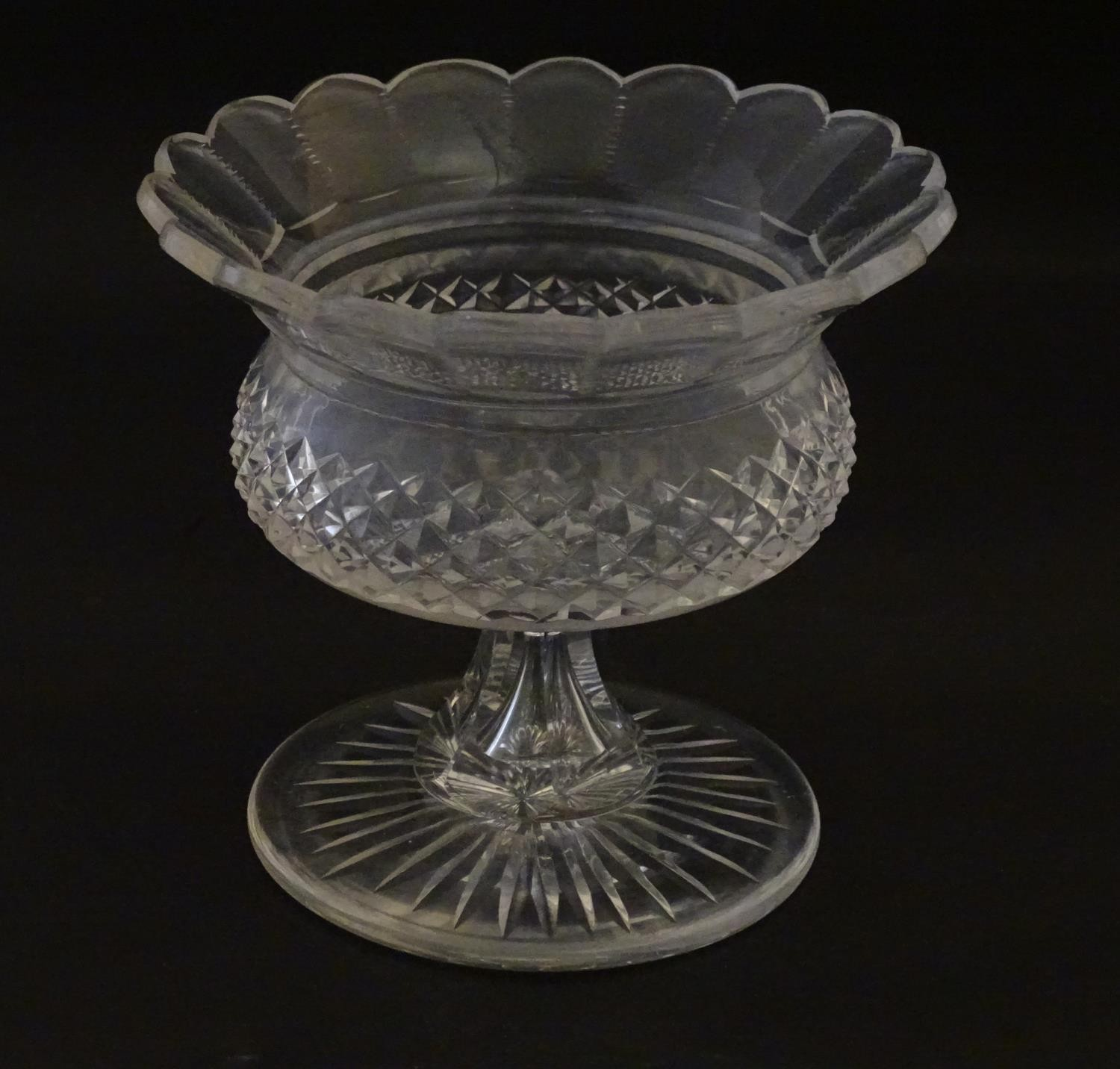 """A 19thC cut glass small tazza / bowl, probably by Waterford. 5"""" high Please Note - we do not make"""