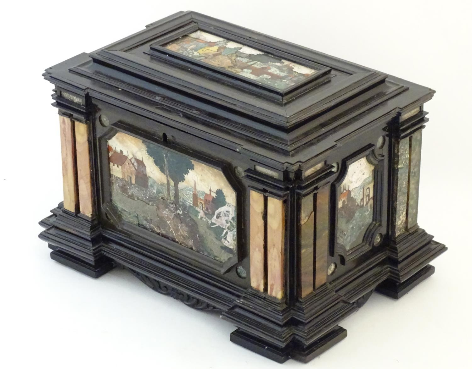 A 19thC Italian Grand Tour table cabinet / casket box of exceptionally large form with specimen - Image 22 of 58